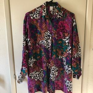 Oversized festival vintage rayon button up shirt